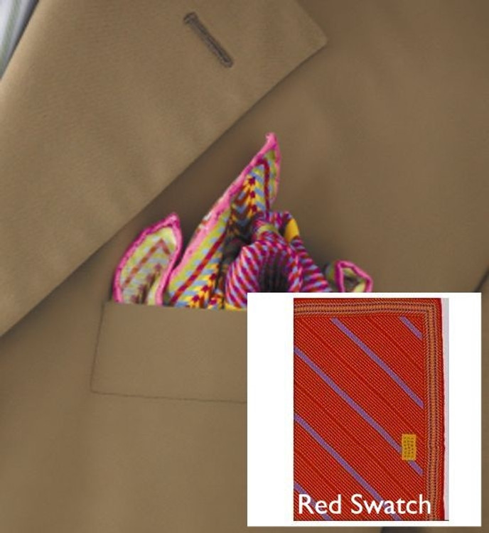 Plaid Stripe Pocket Square in Red by Robert Talbott