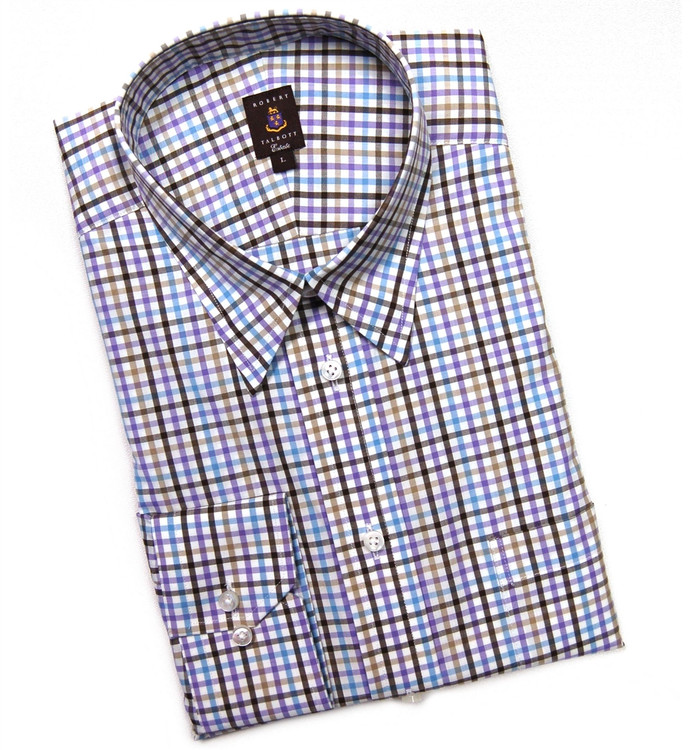 Purple and Brown Plaid Estate Sport Shirt by Robert Talbott