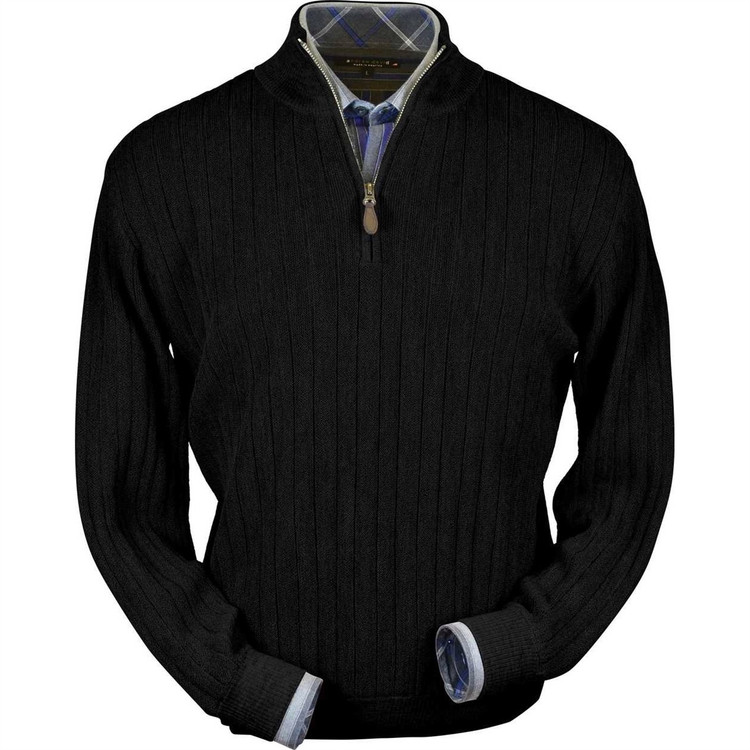 Baby Alpaca Link Stitch Half-Zip Mock Neck Sweater in Black by Peru Unlimited