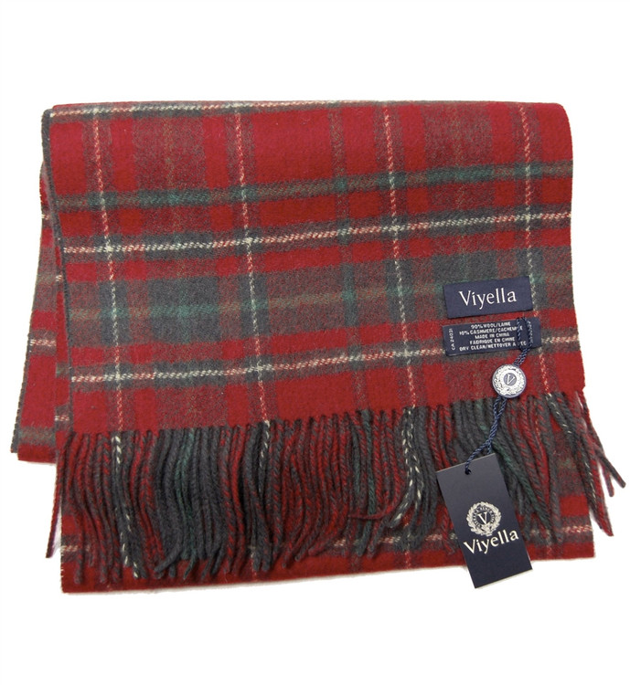 Red, Green, and Charcoal Plaid Wool and Cashmere Scarf by Viyella