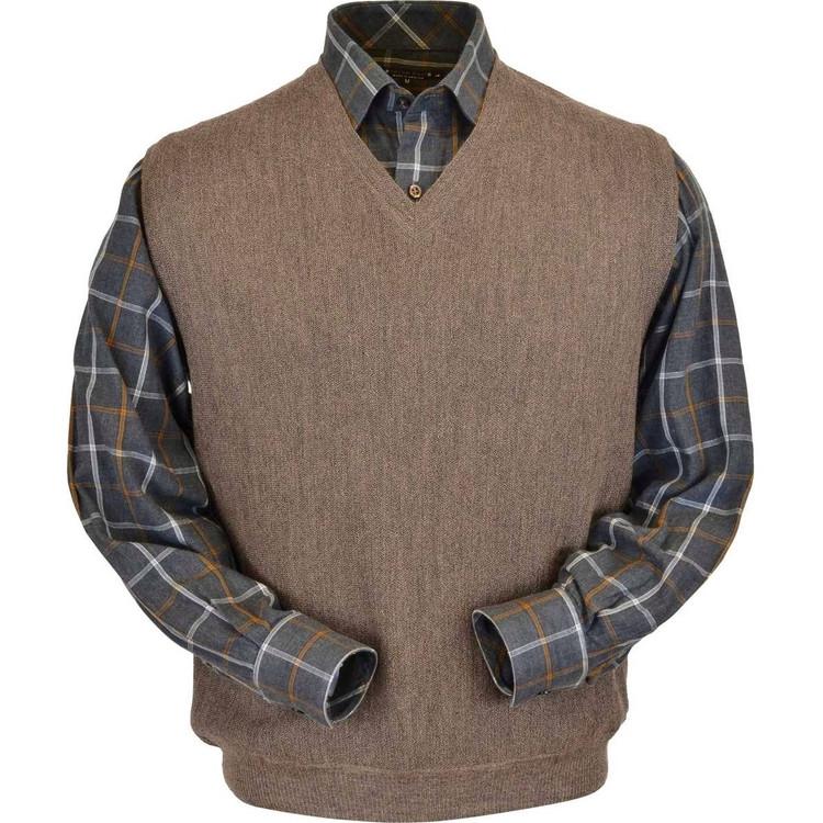 Baby Alpaca Link Stitch Sweater Vest in Taupe Heather by Peru Unlimited