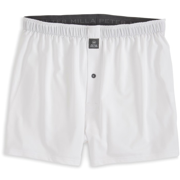 Solid Stretch Jersey Performance Boxer in White by Peter Millar