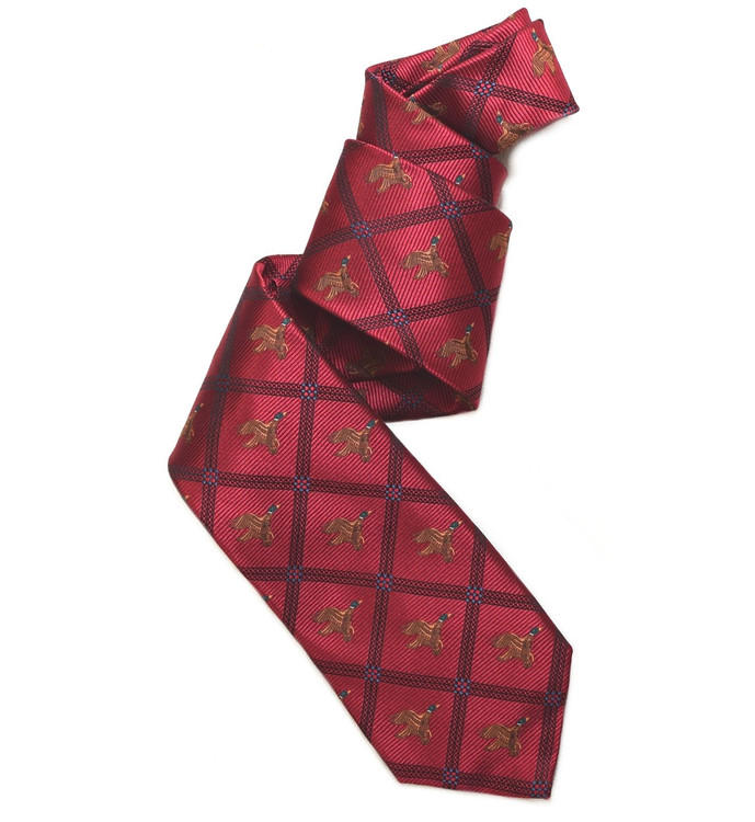 Red and Black Flying Duck Woven Silk Club Tie by Robert Jensen
