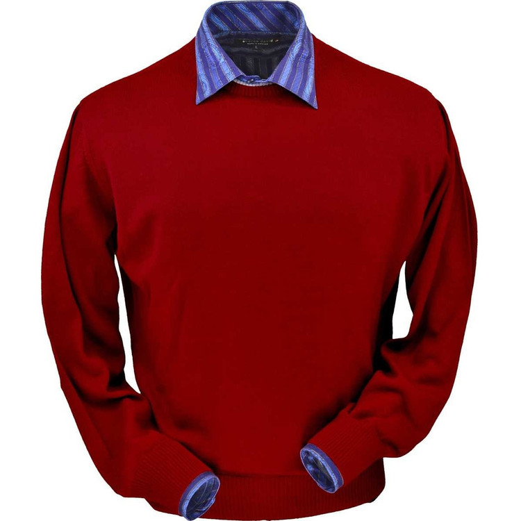 Royal Alpaca Crew Neck Sweater in Red by Peru Unlimited