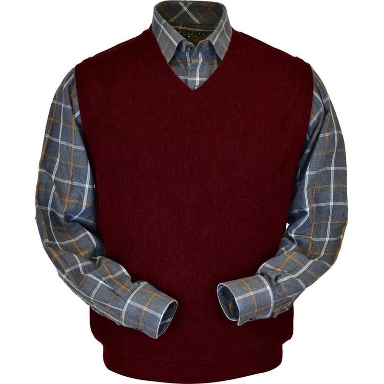 Baby Alpaca Link Stitch Sweater Vest in Wine Heather by Peru Unlimited