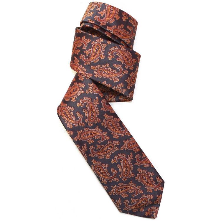 Grey, Orange, and Red Paisley Woven Silk Tie by Robert Jensen