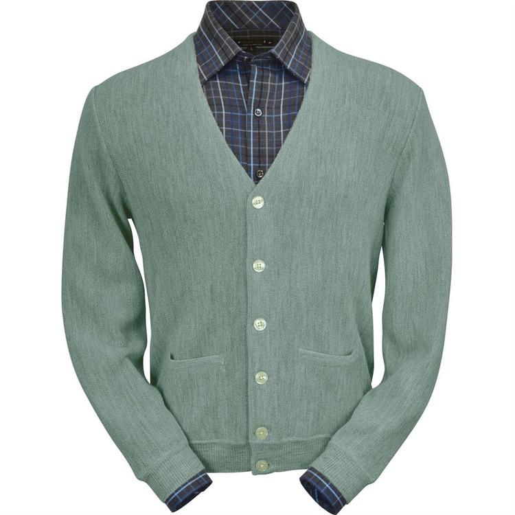 Baby Alpaca Link Stitch Cardigan Sweater in Soft Green Heather by Peru Unlimited