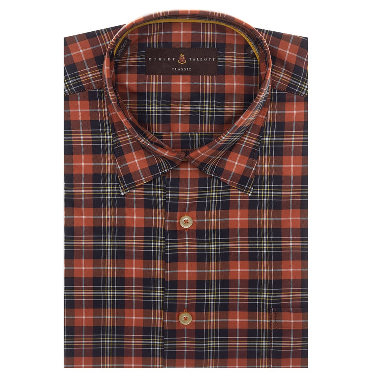 Ember and Brown Plaid Sport Shirt by Robert Talbott