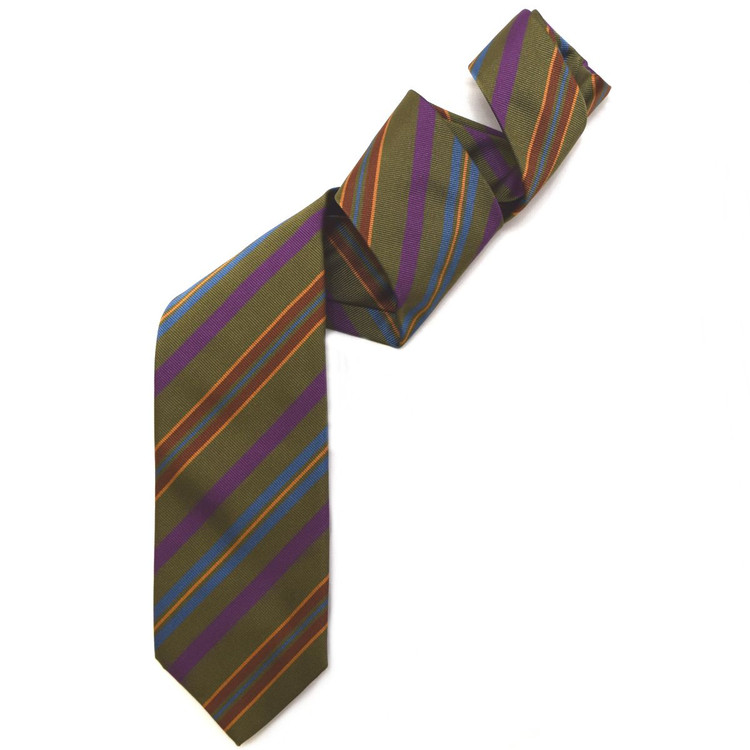 Olive, Purple, and Blue Silk Faille Repp Tie by Robert Jensen