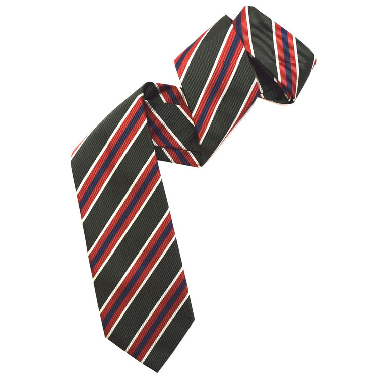 Hunter, Tomato, and Navy Silk Faille Repp Tie by Robert Jensen