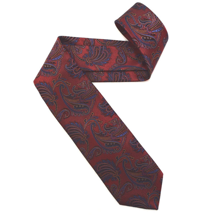 Red, Blue, and Black Paisley Woven Silk Tie by Robert Jensen