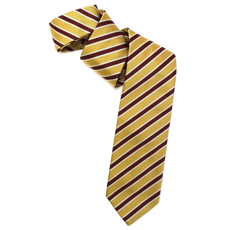 Gold, Red , and Cream Silk Faille Repp Tie by Robert Jensen