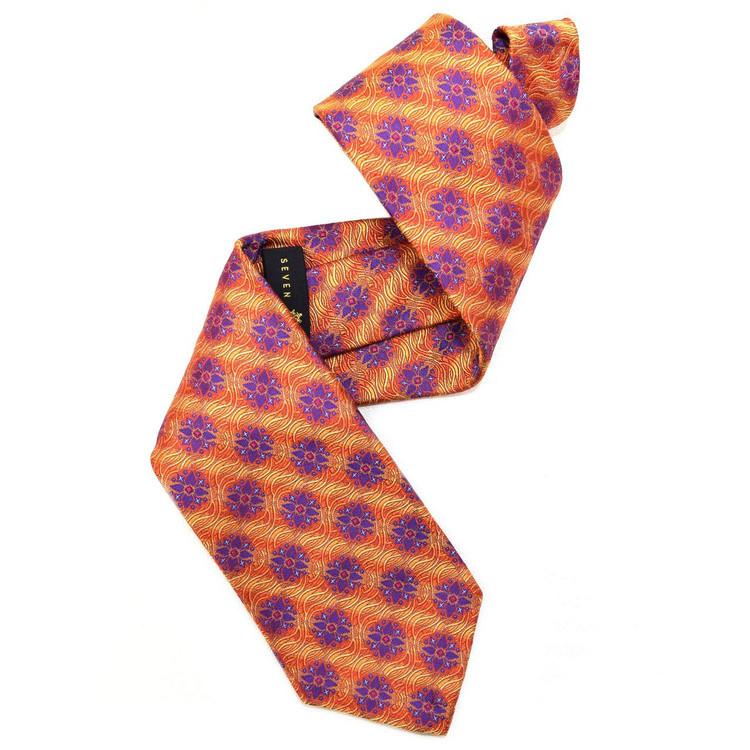 Orange and Purple 'Sudbury' Seven Fold Silk Tie by Robert Talbott