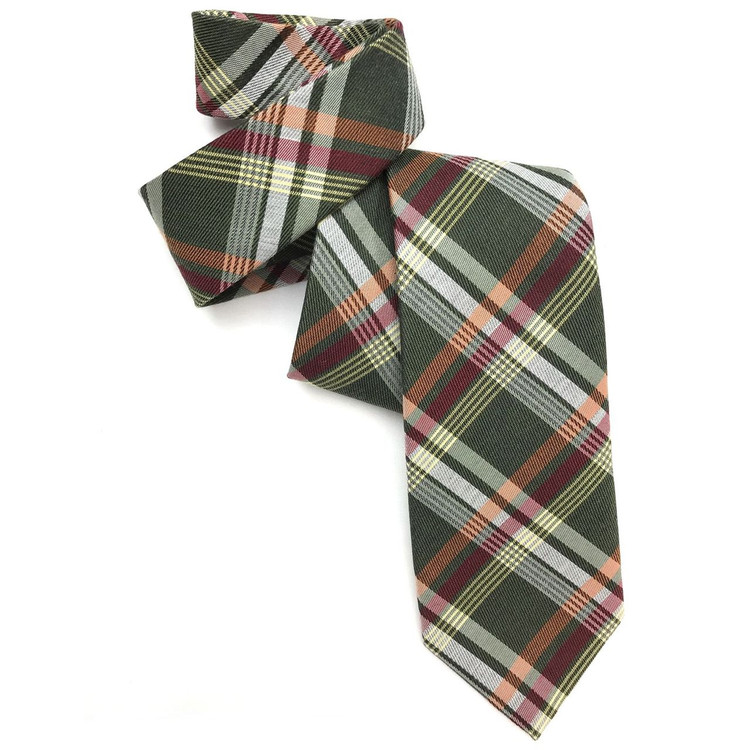 Green, Orange, and Red Tartan Woven Cotton and Cashmere Tie by Robert Jensen