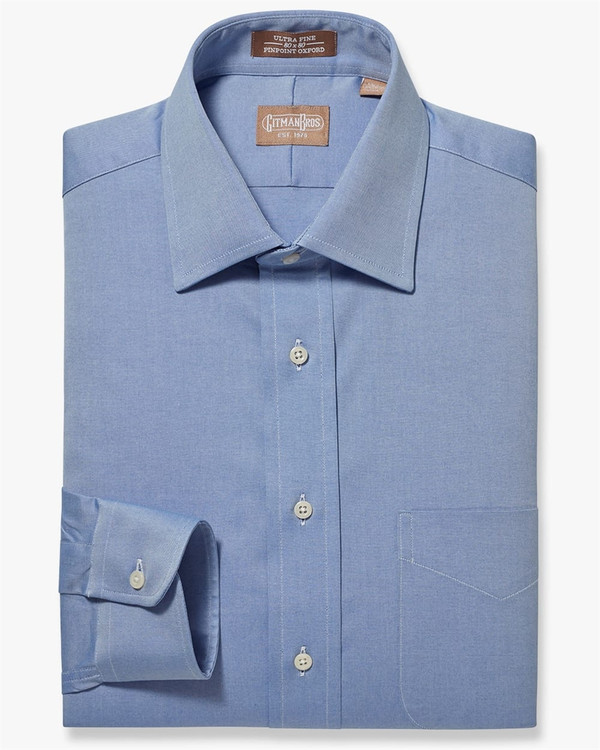 Pinpoint Dress Shirt with Medium Spread Collar in Blue (Size 16 - 36) by Gitman Brothers