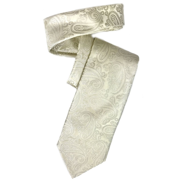 Ivory Paisley 'Robert Talbott Protocol' Hand Sewn Woven Silk Tie by Robert Talbott