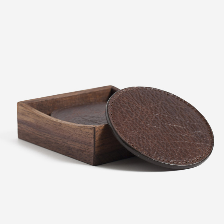 American Bison Leather Coasters with Walnut Box by Moore & Giles