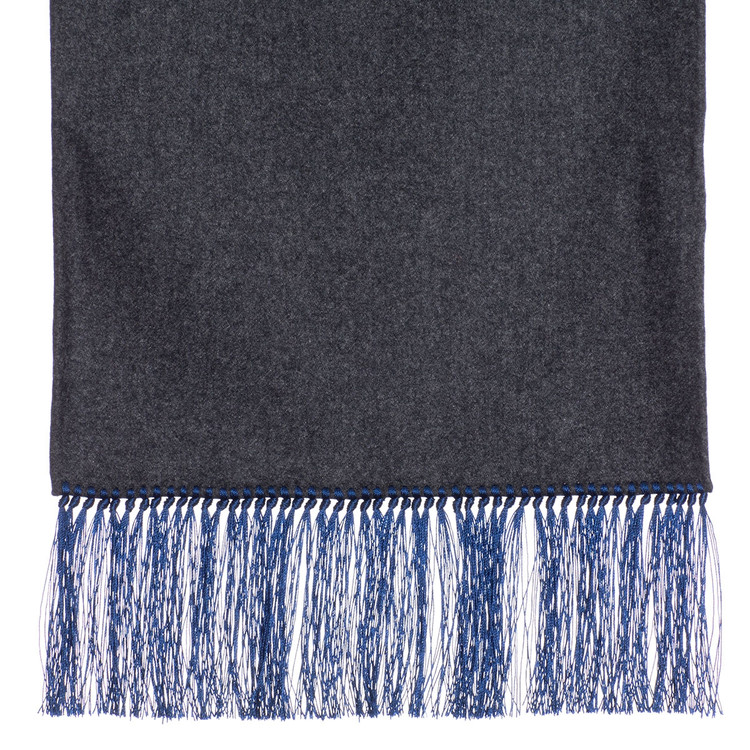 Wool Scarf in Dark Grey with Blue Silk Fringe by Robert Talbott