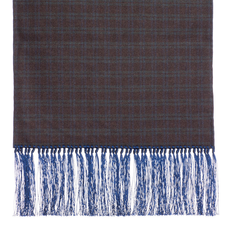 Wool Scarf in Brown and Green Check with Blue Silk Fringe by Robert Talbott