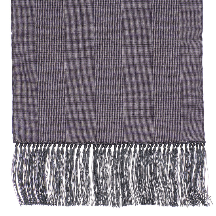 Cotton Scarf in Rose Check with Grey Silk Fringe by Robert Talbott