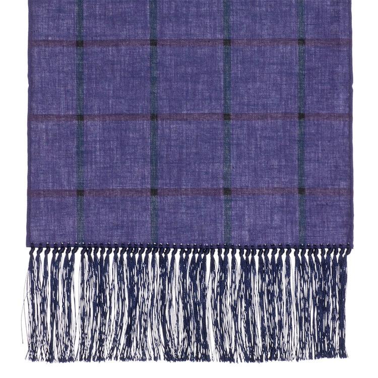 Cotton Scarf in Purple Check with Navy Silk Fringe by Robert Talbott