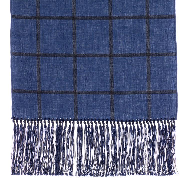 Cotton Scarf in Blue Check with Navy Silk Fringe by Robert Talbott