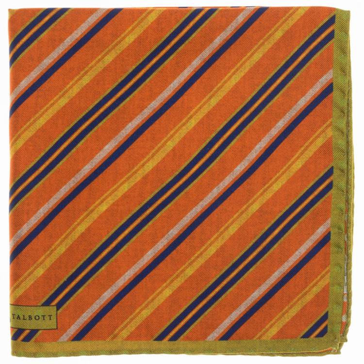 5416fe5d00f2 Stripe Reversible Silk Pocket Square in Orange by Robert Talbott