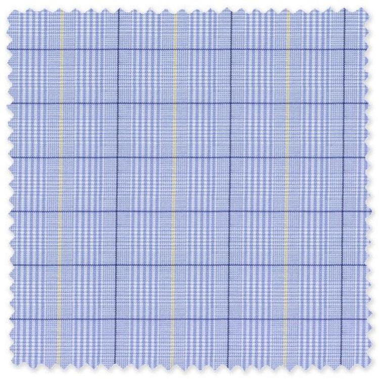Blue and Yellow Plaid Cotton Broadcloth Custom Dress Shirt by Skip Gambert