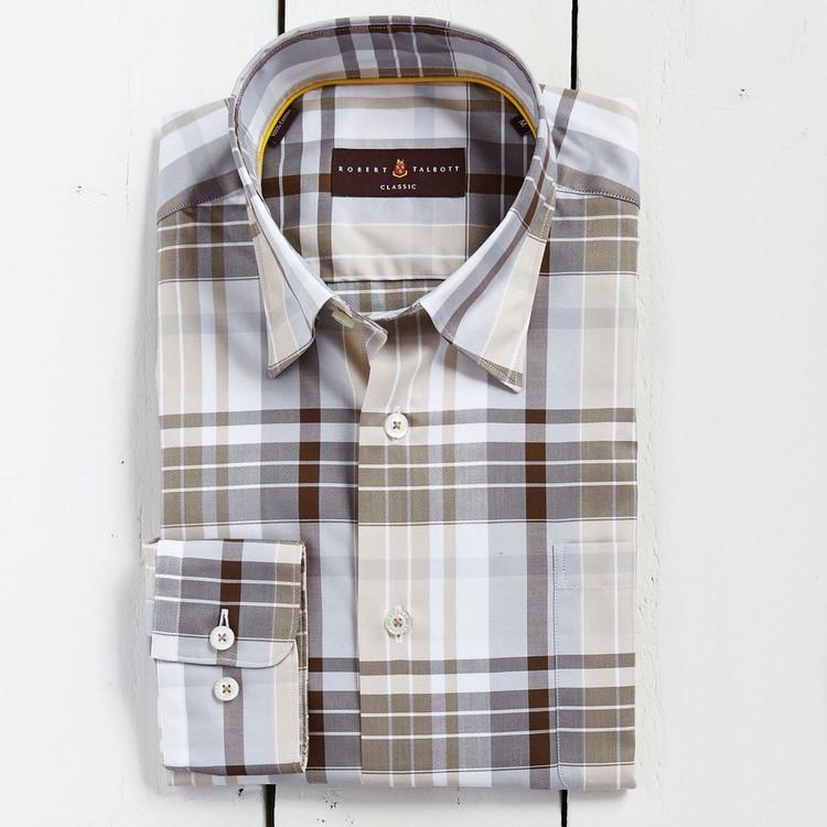 904ebdeb54f7 Tan and Grey Plaid 'Anderson II' Sport Shirt by Robert Talbott