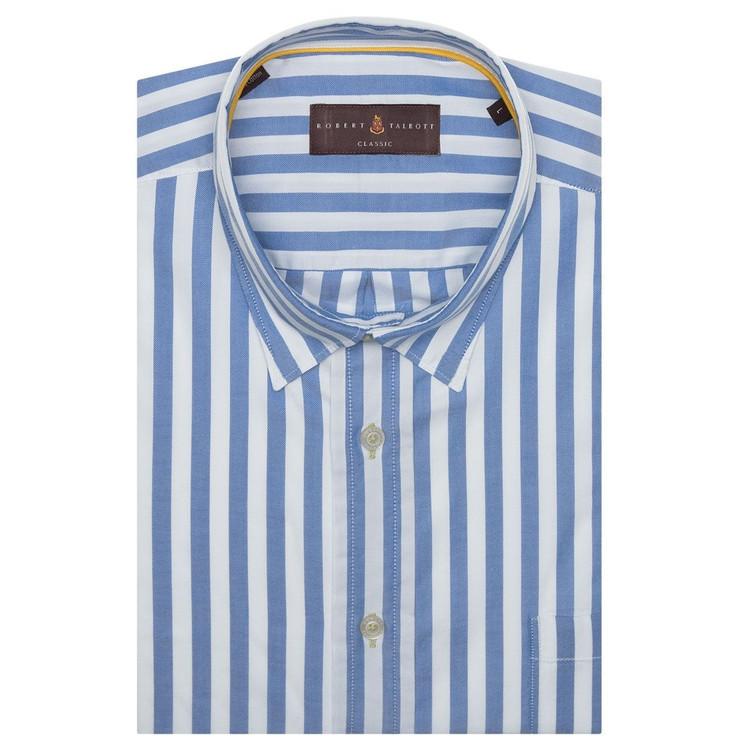 Lapis and White Stripe 'Derby' Sport Shirt (Size X-Large) by Robert Talbott