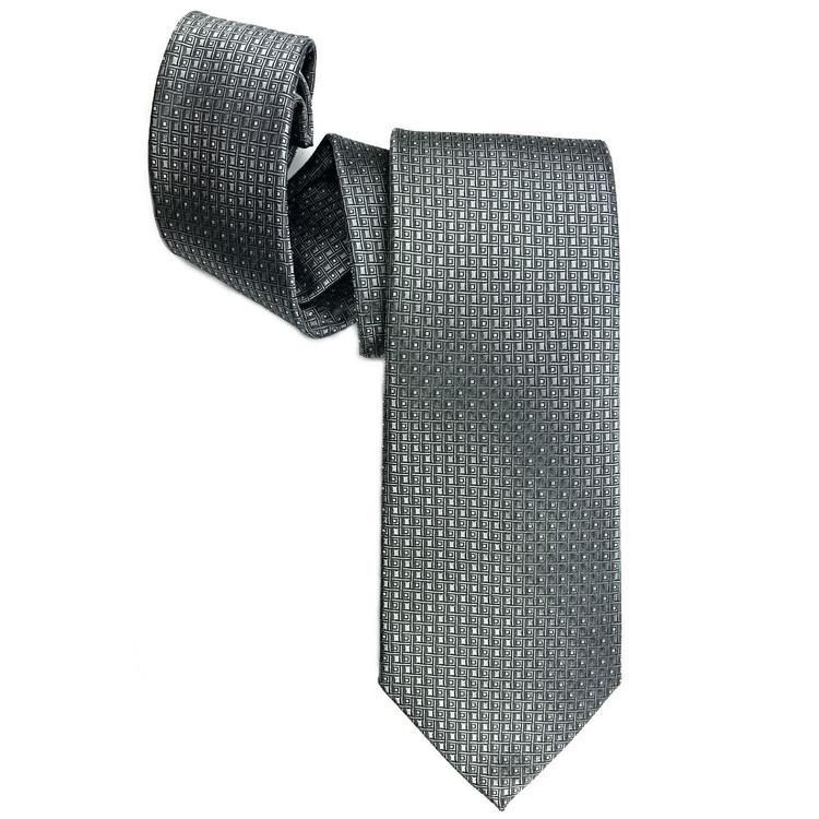 Grey Geometric Squares Woven Silk Tie by Robert Jensen