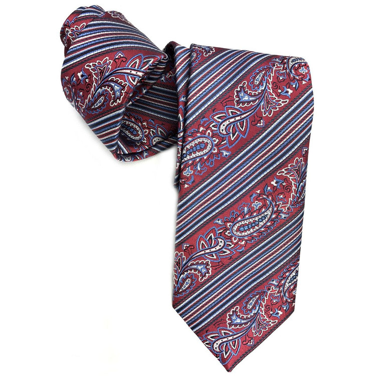 Red and Blue Paisley Stripe Woven Silk Tie by Robert Jensen