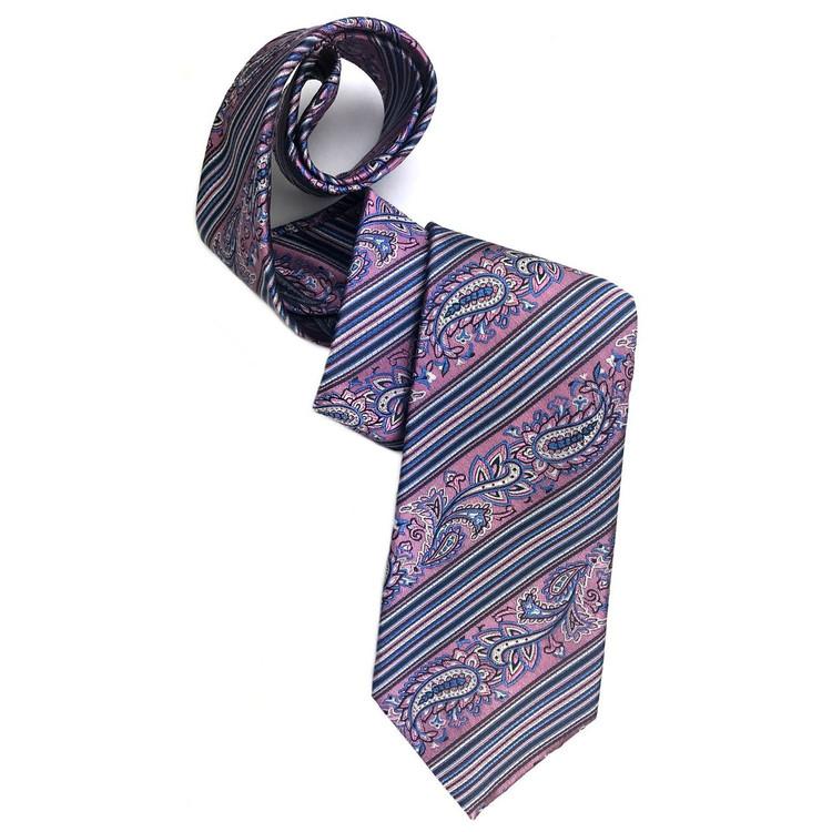 Pink and Blue Paisley Stripe Woven Silk Tie by Robert Jensen