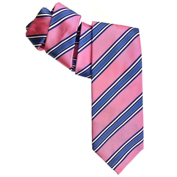 Pink and Blue Silk Faille Repp Tie by Robert Jensen