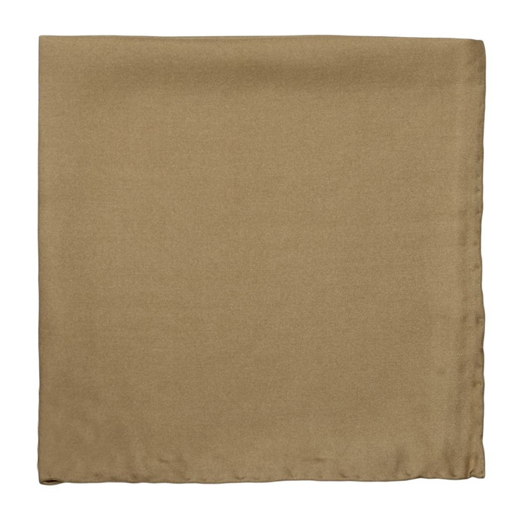 Solid Silk Pocket Square in Camel by Robert Talbott