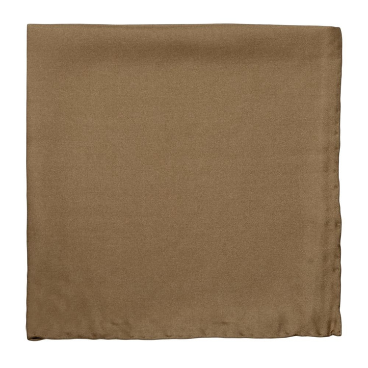 Solid Silk Pocket Square in Tan by Robert Talbott