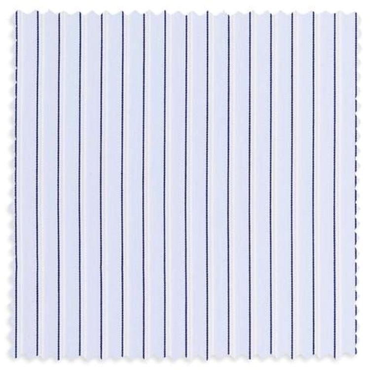 Blue Broadcloth Border Stripe Custom Dress Shirt by Gitman Brothers