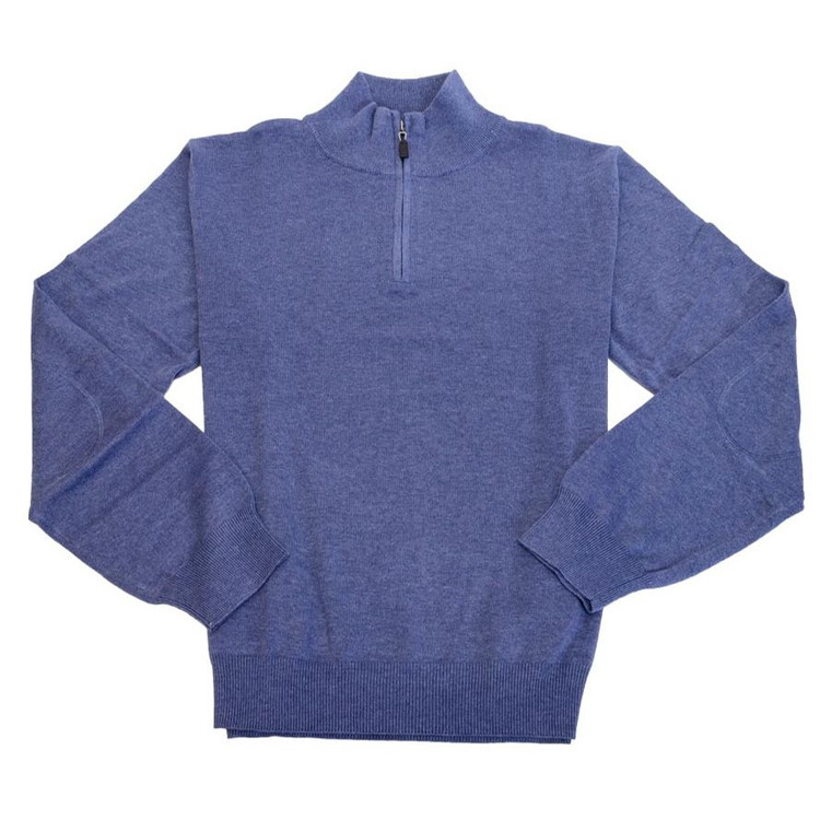 Cotton and Silk Quarter-Zip Mock Neck Sweater with Elbow Patches in Steel Blue by Viyella