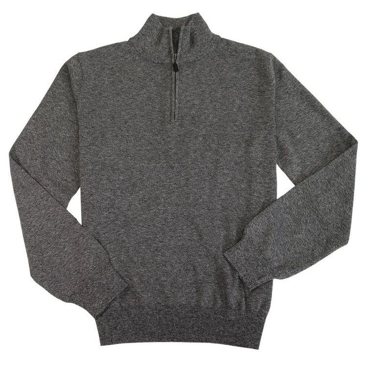 Cotton and Silk Quarter-Zip Mock Neck Sweater with Elbow Patches in Charcoal Mix by Viyella