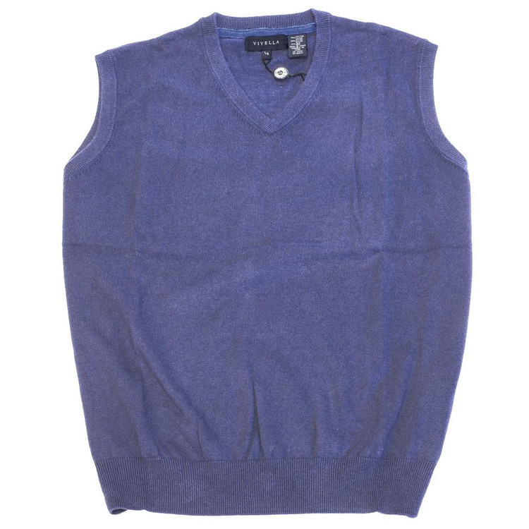 Cotton and Silk V-Neck Sleeveless Sweater Vest in Steel Blue by Viyella