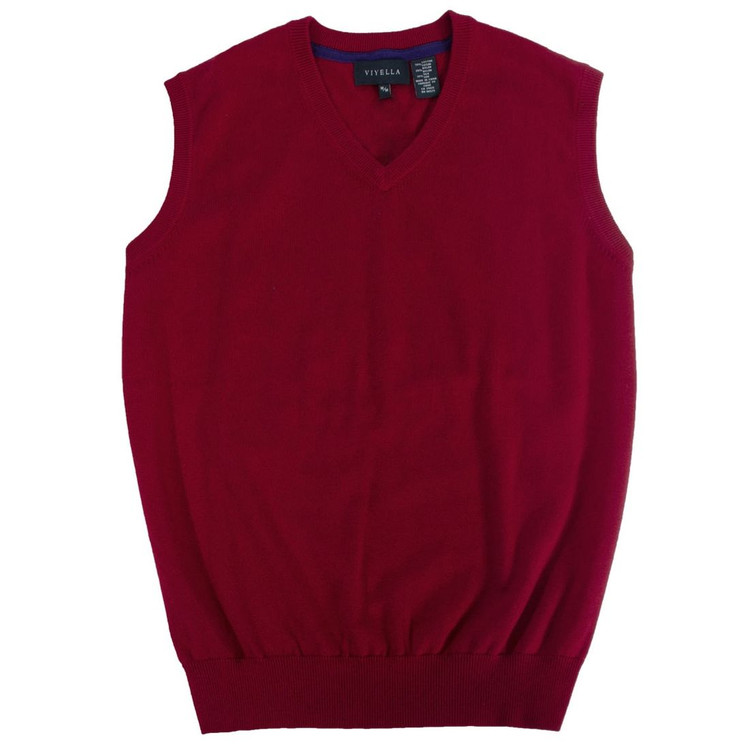 Cotton and Silk V-Neck Sleeveless Sweater Vest in Red by Viyella