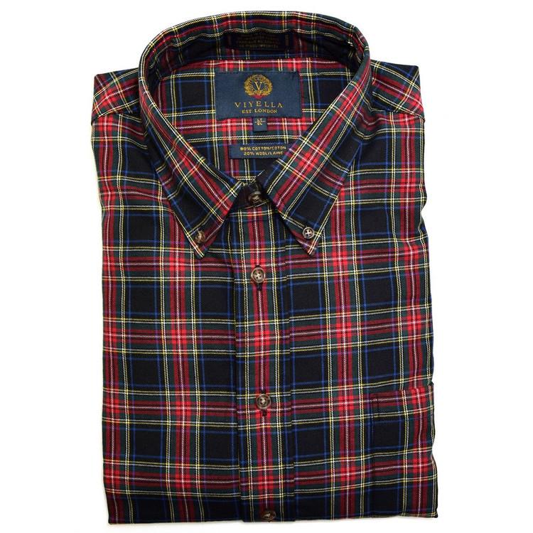 Black, Red, and Pine Plaid Button-Down Shirt by Viyella