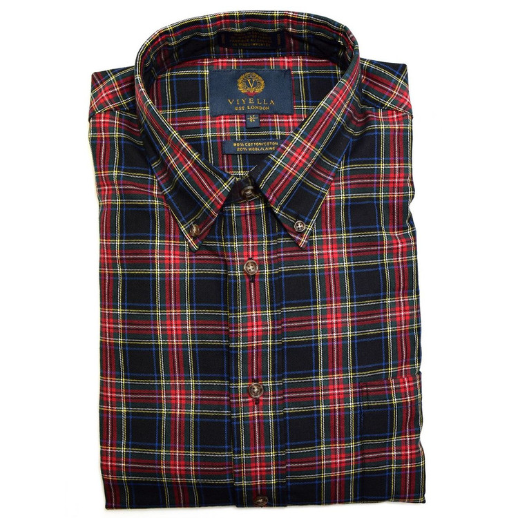 Black, Red, and Pine Plaid Button-Down Shirt by Viyella