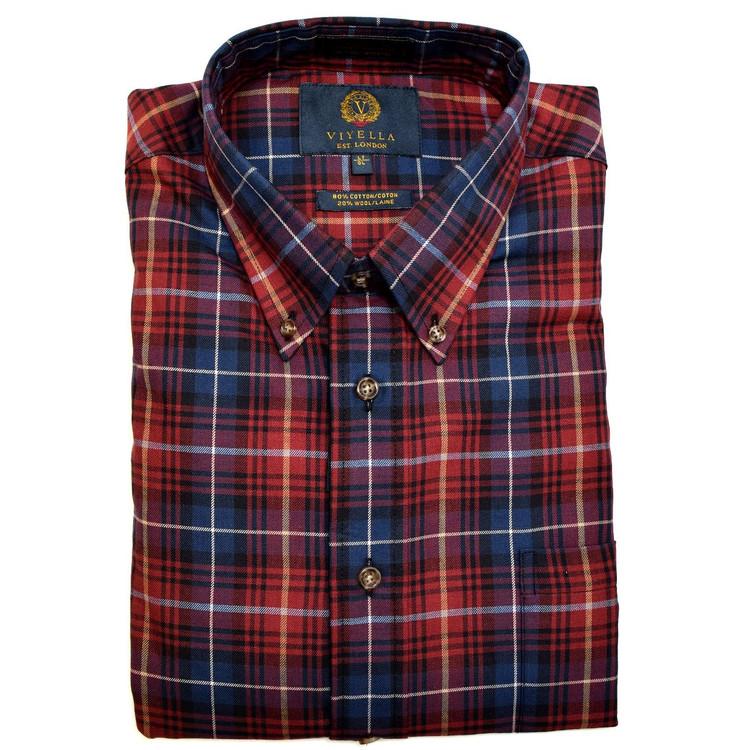 Garnet and Blue Plaid Button-Down Shirt by Viyella