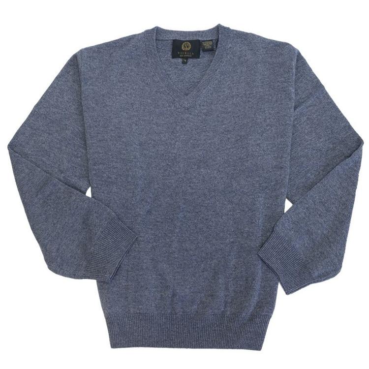Merino Wool V-Neck Sweater in Blue Mix by Viyella