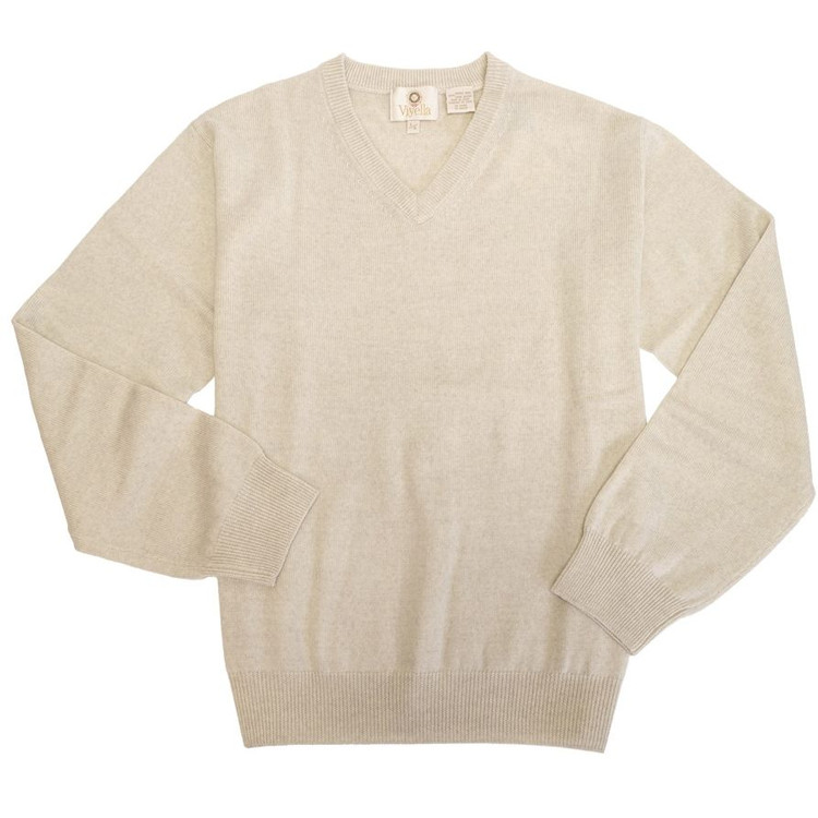 Merino Wool V-Neck Sweater in Beige Melange by Viyella