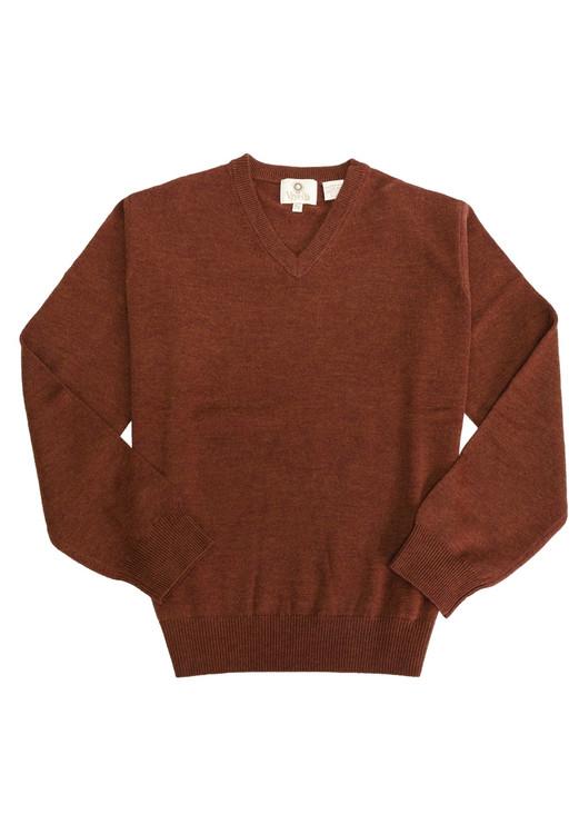 Merino Wool V-Neck Sweater in Brick Rust by Viyella