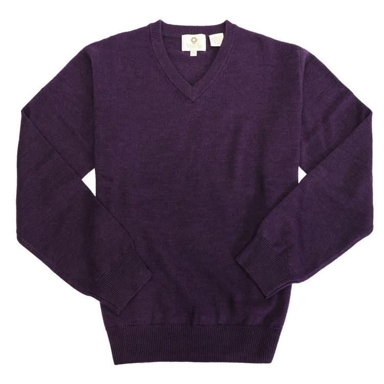 Merino Wool V-Neck Sweater in Mulberry by Viyella