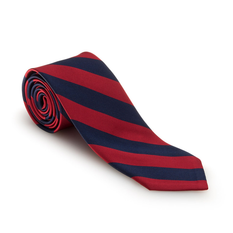 Fall 2017 Red and Navy Bar Stripe Woven Silk Tie by Robert Talbott