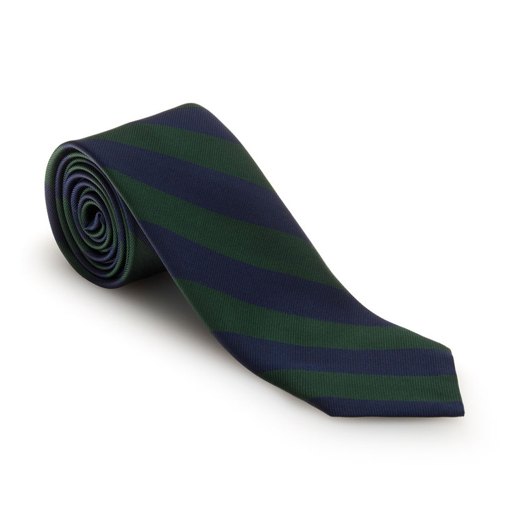 Green and Navy Bar Stripe Woven Silk Tie by Robert Talbott